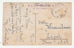 Hungary WWI Couple Postcard Posted 1917 K.u.k. Ulanenregiment Nr. 6 FP402 To Zagreb B200215 - Croatia