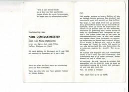 Dp 10282 - PAUL DEMEULEMEESTER - WORTEGEM 1944 + ROESELARE 1986 - Devotion Images