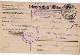CARTE DE PRISONNIER GUERRE 1914 18   -  MINDEN POUR VALENCIENNES   VOIR CACHET - Guerre De 1914-18
