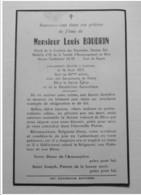 Faire Part Décès LOUIS BAUDRIN, Prévôt Confrérie Charitables, Ancien Combattant, Cx De Guerre, 1971, Lestrem, Béthune - Décès