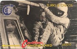 """TURK § CAICOS  -  Phonecard  -  """" John GLENN .. """" -  $10 - Turks & Caicos (Islands)"""