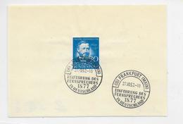 Bund FDC MI.161 SSt. Frankfurt 27.10.52 Auf Papierstück - [7] Federal Republic