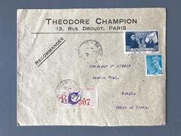 France N°549 Et 583 Sur Lettre Recommandée De Paris Pour Nangis - (B3090) - Postmark Collection (Covers)