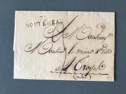 France - Griffe 73 MONTEREAU Sur Lettre (LAC) Pour Troyes - (B3091) - Marcophilie (Lettres)