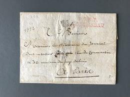 France - Griffe Rouge P.73.P. MONTEREAU Sur Lettre (LAC) 1792 Pour Paris - (B3092) - Marcophilie (Lettres)