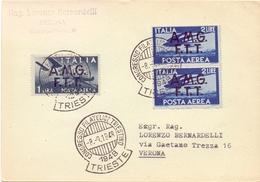 ITALY AIR MAIL A.M.G  F.T.T TRIESTE  CONGRESSO FILATELICO  1946   (FEB20986) - Esposizioni Filateliche