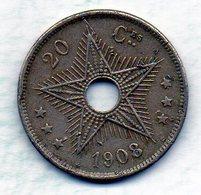 BELGIAN CONGO, 20 Centimes, Copper-Nickel, Year 1908, KM #11 - Congo (Belge) & Ruanda-Urundi