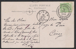 "Armoiries - N°83 Sur CP Vue (Expositon De Bruxelles) Obl ""Bruxelles Tentoonstelling / Bruxelles Exposition B"" Vers Ciney - 1893-1907 Stemmi"