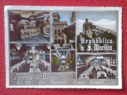 POSTAL POST CARD REPPUBLICA DI S. SAN MARINO LA TAVERNA DE PAOLINO BAR RISTORANTE DEL PIANELLO REPÚBLICA Y TAMPÓN SELLO - San Marino