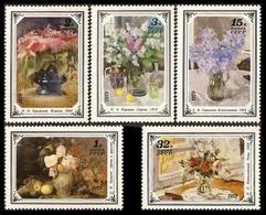 USSR Russia 1979 Russian Flower Paintings ART Flowers Vase Painting Fruit Grape Apple Plant Stamps MNH Michel 4886-4870 - Plants