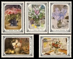 USSR Russia 1979 Russian Flower Paintings ART Flowers Vase Painting Fruit Grape Apple Plant Stamps MNH Michel 4886-4870 - 1923-1991 USSR