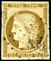 Oblit. N°1 10c Bistre, Obl PC 830, Signé Brun - TB - 1849-1850 Cérès