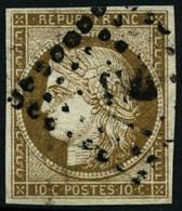 Oblit. N°1 10c Bistre, Signé Calves - TB - 1849-1850 Cérès