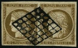 Oblit. N°1b 10c Bistre-verdâtre, Paire - TB - 1849-1850 Cérès