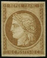 ** N°1F 10c Jaune, Réimp - TB - 1849-1850 Cérès
