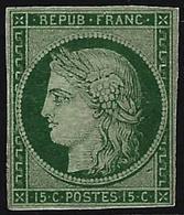 * N°2 15c Vert, Gomme Dimunée, Très RARE - B - 1849-1850 Cérès