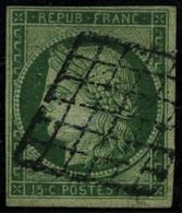 Oblit. N°2 15c Vert, Obl Grille Signé Calves Et Brun - TB - 1849-1850 Cérès