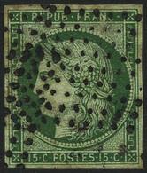Oblit. N°2 15c Vert, Pelurage Au Verso - B - 1849-1850 Cérès