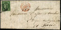 Lettre N°2 15c Vert, Obl Grille S/lettre - TB - 1849-1850 Cérès