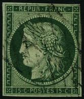 Oblit. N°2c 15c Vert, Très Foncé, Au Filet à Droite - B - 1849-1850 Cérès