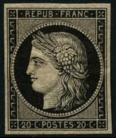 ** N°3 20c Noir S/jaune,signé Roumet - TB - 1849-1850 Cérès