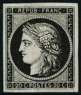 ** N°3a 20c Noir S/blanc, Signé Calves - TB - 1849-1850 Cérès