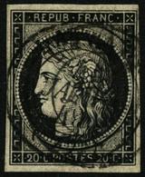 Oblit. N°3a 20c Noir S/blanc Obl 14/1/49  Type 15, Signé Calves - B - 1849-1850 Cérès