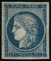 * N°4 25c Bleu, Signé Calves Et Brun - TB - 1849-1850 Cérès