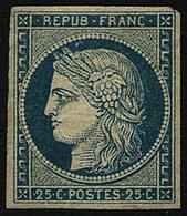 * N°4 25c Bleu, Infime Trace  Signé Calves - TB - 1849-1850 Cérès