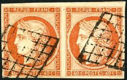 Oblit. N°5 40c Orange, Paire Grille Signé Scheller - TB - 1849-1850 Cérès