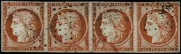 Oblit. N°5 40c Orange, Bande De 4 Obl PC 898 - TB - 1849-1850 Cérès