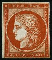(*) N°5a 40c Orange Vif SG, Fraicheur Postale Signé Calves - TB - 1849-1850 Cérès