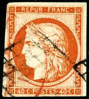 Oblit. N°5a 40c Orange Vif, Signé JF Brun - TB - 1849-1850 Cérès
