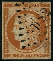 Oblit. N°5d 40c Orange, 4 Retouché Papier Peluré Au Verso, Timbre RARE - TB - 1849-1850 Cérès
