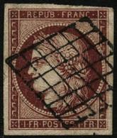 Oblit. N°6 1F Carmin, Petit Pelurage Au Verso - B - 1849-1850 Cérès