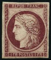 ** N°6F 1F Carmin, Réimp - TB - 1849-1850 Cérès