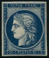 ** N°8F 20c Bleu, Réimp - TB - 1849-1850 Cérès