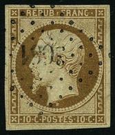 Oblit. N°9 10c Bistre, Signé Brun - TB - 1852 Louis-Napoleon