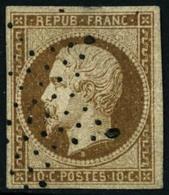Oblit. N° 10c Bistre, Petit Pelurage Au Verso, Superbe D'aspect - B - 1852 Louis-Napoleon