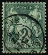 Oblit. N°62 2c Vert, Signé Brun - TB - 1876-1878 Sage (Type I)