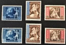 1942 Europäisches Postkongreß Mi. 820 - 822**) + Aufdruck Mi.823 - 825**) - Germania