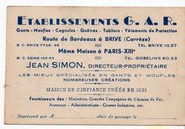 19 BRIVE  ETABLISSEMENT G A R  GANTS MOUFFLES TABLIER  JEAN SIMON DIRECTEUR  1921   PARIS XIII - Cartes De Visite