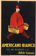 1 Affiche Cartonné Advertising  Card  Americano Bianco    Torino Italia  Maya Illustator Achille Mauzan  17 X 26 Cm - Affiches