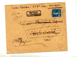 Lettre Cachet ? Sur 25 C Semeuse + Retour Mention Decedé - Marcophilie (Lettres)