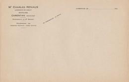 CARENTAN (50) - Papier à Lettres - Charles RENAUX, Notaire - Autres