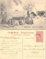 CONGO BELGE. CARTE POSTALE. VILLAGE BATEKE PRES LEOPOLDVILLE. ENTIER 10c. 4 11 20. STANLEYVILLE POUR PARIS - 1894-1923 Mols: Storia Postale