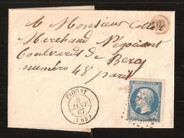 France Lettre écrite à Bonneuil 8 Janvier 1867 YT 22 Cachet OR Cachet Type 15 Flogny Au Dos Ambulant Auxerre à Paris - 1862 Napoleone III