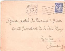 4f.Iris Bleu Sur Lettre Adressée à GENEVE SUISSE à L'Agence Centrale Des Prisonniers De Guerre - Poststempel (Briefe)