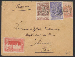 Expositions - N°71 Et 73 + N°57 Et Vignette Exposition Bruxelles 1897 Expédié De Bruxelles Vers Nimes - 1894-1896 Exhibitions