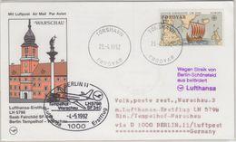 Färöer - 3,70 Kr. Wikingerschiff Zuleitung LH-Erstflug Berlin - Warschau 1992 - Färöer Inseln